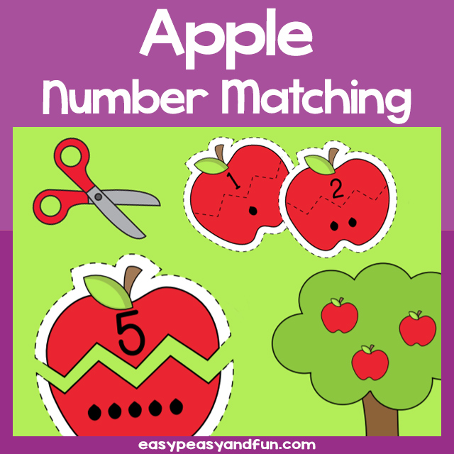 Printable Apple Number Matching