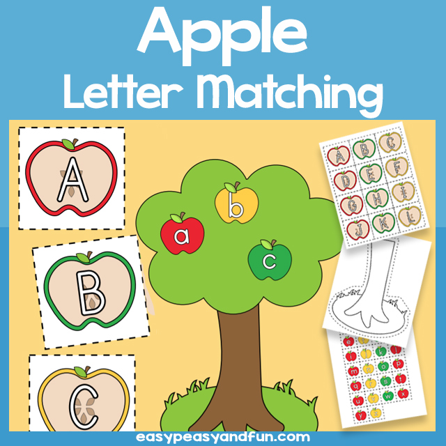 Printable Apple Uppercase and Lowercase Letter Match