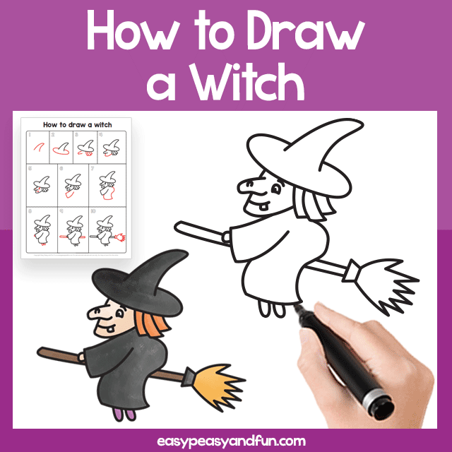 Witch Guided Drawing Printable