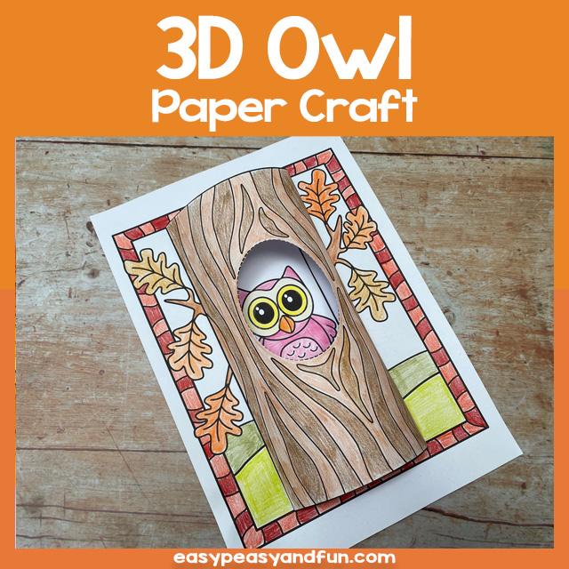 3D Owl Paper Craft Template